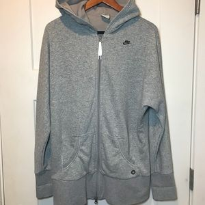 Gray NIKE Logo Zip Up Oversized Hoodie Size L